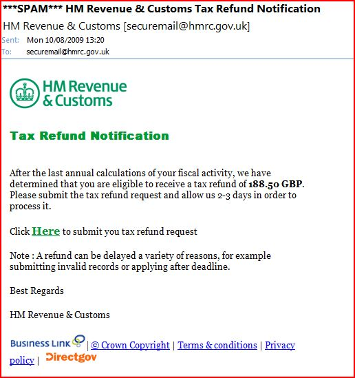 Tax Refund Spam E-Mail
