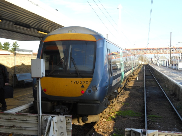 The First Ipswich-Cambridge Class 170 at Cambridge