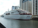 MS Deutschland Berthed at South Quay, London Docklands