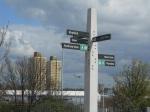 Signpost at Abbey Mills Pumping Station