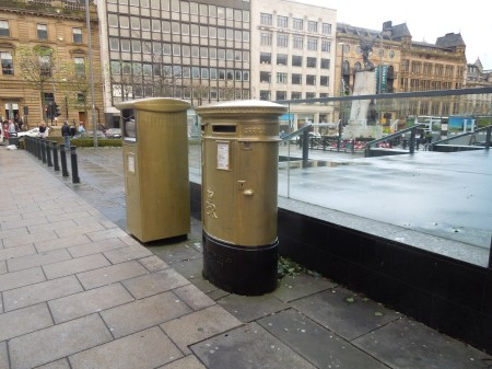 Two Gold Post Boxes In Leeds