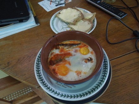 Baked Eggs And Sardines