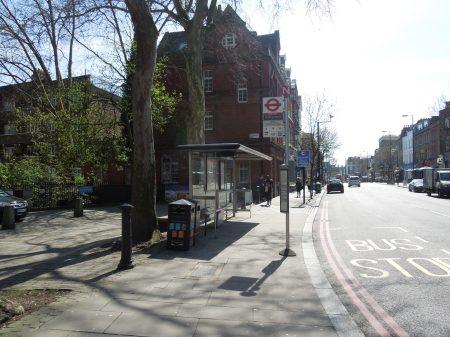 A Bus Stop With A Carluccio's