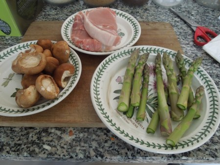 Pork, Mushrooms and Asparagus