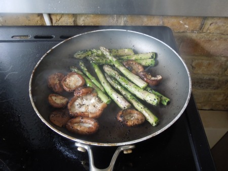 Cooking The Mushrooms And Asparagus