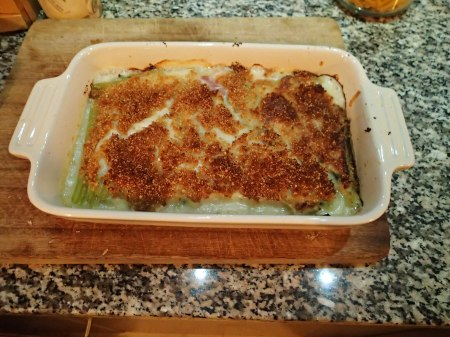 Celery, Ham And Spinach Gratin