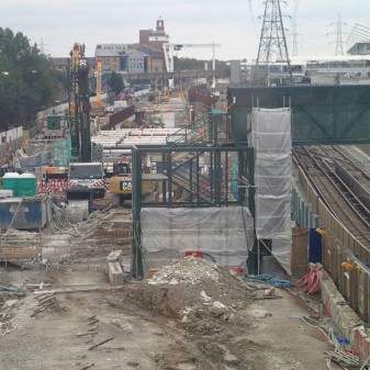The Crossrail Portal At Royal Victoria From The Bridge