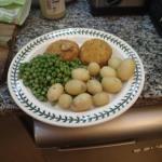 Fishcakes, Potatoes And Peas