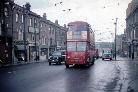 Trolleybus Ascending Jolly Butchers Hill in Wood Green