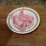 4. Tear 120g Ham Into Bite-Size Pieces