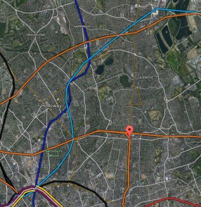 Map 1. Rail Lines Around Dalston