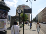 A Tram Stop With Clock