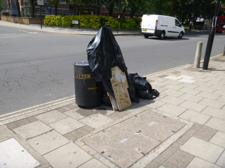 Rubbish By A Bin In Hackney