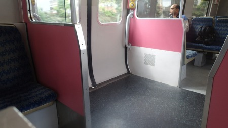 The Pink Interior Of A Class 315 Train