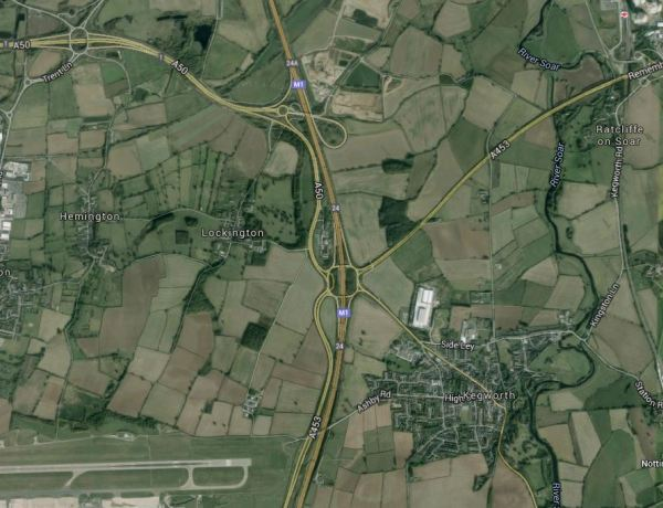 East Midlands Airport, the M1 And The Midland Main Line