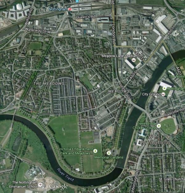 Nottingham Station, The River Trent And Sports Grounds