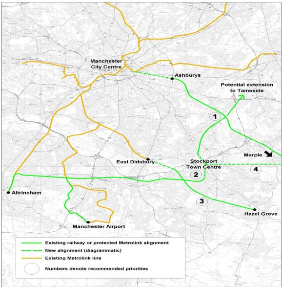 Possible Stockport Tram-Train Routes