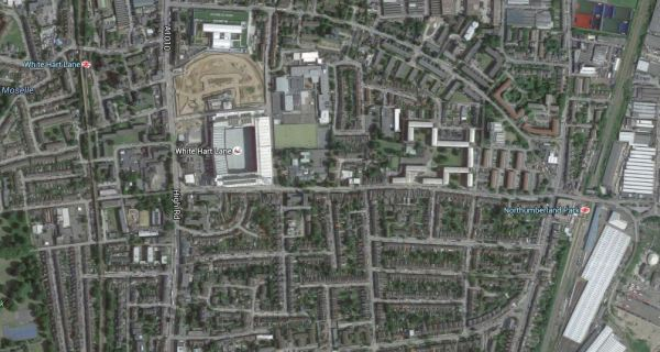 White Hart Lane Stadium And The Rail Lines