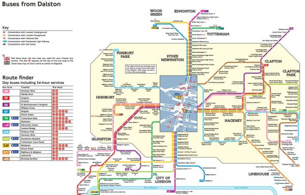 Dalston Bus Spider Map