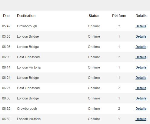 Trains From Oxted