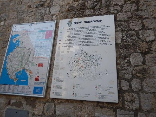 War Damage On A Map Of Dubrovnik