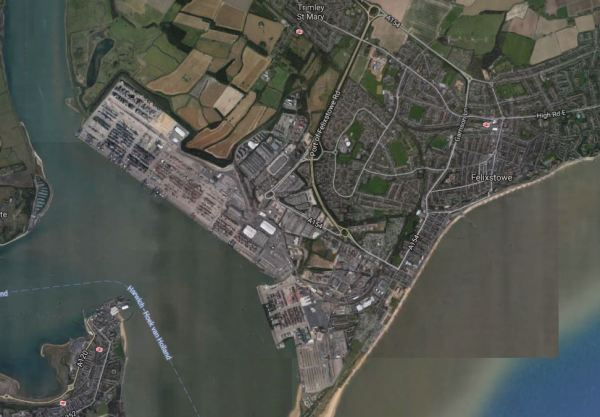 Port Of Felixstowe And Railway Lines In Felixstowe