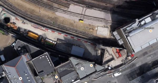 Behind The Hoardings On Charterhouse Street From Above