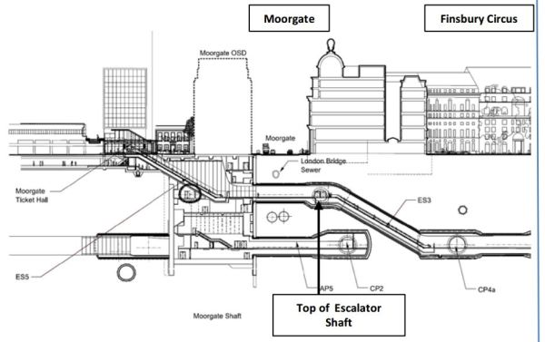 East-West Cross-Section Of Moorgate Crossrail Station