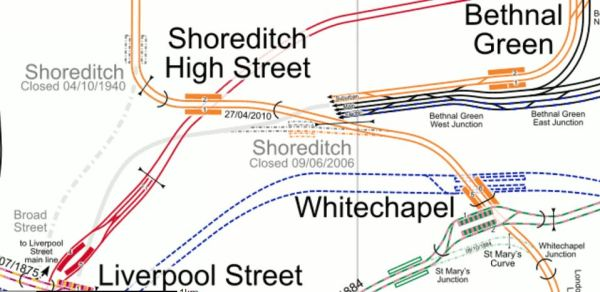 Lines Around Shoreditch High Street Station