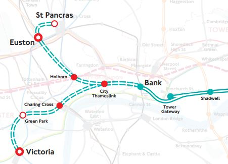 London Light Rail Map.A Connection Between City Thameslink Station And The Docklands Light
